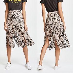 NWT Alice + Olivia leopard midi skirt